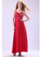 2014 Column Straps Ankle-length Beading Red Chiffon Prom Dress