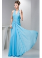 2014 Spring Aqua Blue Empire Halter Beading Chiffon Prom Dress