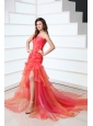 A-line Hot Pink Sweetheart Ruching and Beading Court Train  Prom Dress