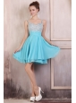 Beaded Decorate Brust Straps Chiffon Knee-length Aqua Blue Prom Dress