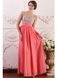 Beaded Decorate Brust Straps Empire Chiffon Watermelon Prom Dress