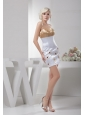 Champagne and White Sexy Mini-length Cocktail Dress with Beaded