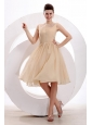 Champagne Bateau Ruching Prom Dress with Chiffon