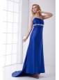 Column Blue Asymmetrical Brush Train Elastic Woven Satin Beading Prom Dress with Backless