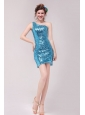 Column Blue One Shoulder Sequin Mini-length Prom Dress