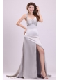 Column Straps Beading and Ruching High Slit Watteau Train Prom Dress