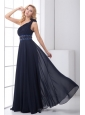 Discount Empire One shoulder Chiffon Navy Blue Beading Prom Dress with Side Zipper