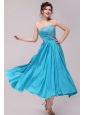 Elegant Aqua Blue A-Line Strapless Taffeta Beading Ankle-length Prom Dress