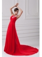 Elegant Empire One Shoulder Appliques Court Train Chiffon Red Prom Dresses