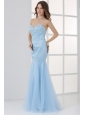 Mermaid Sweetheart Floor-length Light Blue Prom Dress with Beading
