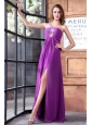 One Shoulder Beading and High Silt Chiffon Prom Dress in Lilac
