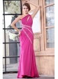 One Shoulder Chiffon Beading Sweep Train Prom Dress in Hot Pink