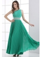 One Shoulder Green Empire Ankle-length Beading and Pleats Prom Dress