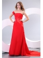 One Shoulder Red Ruche Watteau Train Prom Dress for Evening Party