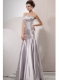 One Shoulder Silver Prom Dress with Beading and Ruching