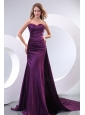 Popular Column Sweetheart Watteau Train Purple Side Zipper Prom Dress with Ruching
