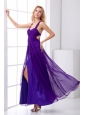 Purple Empire Straps Ruching Ankle-length Prom Dress with Criss Cross