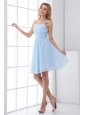 Simple Empire Straps Knee-length Chiffon Baby Blue Prom Dress