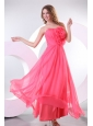 Strapless Flowers Decorate Brust Empire Long Prom Dress with Ruche
