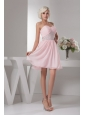 Sweet Empire Sweetheart Pink Mini-length Beading Chiffon Prom Dress