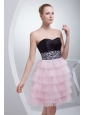 Sweetheart A-line Sweetheart Mini-length Beading Prom Dress with Side Zipper