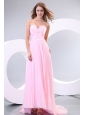 Sweetheart Empire Baby Pink High-low Pleats Prom Dress with Train