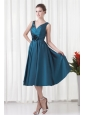 A-line V-neck Teal Taffeta Ruching Knee-length Prom Dress