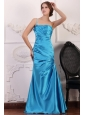 Blue One Shoulder Prom Dress with Beading and Ruching