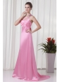 Brand new Column One Shoulder Brush Train Pink 2014 Prom Dress with Criss Cross