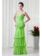 Champagne A-line Strapless Knee-length Taffeta Ruching Prom Dress
