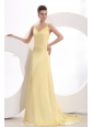 Champagne Column V neck Criss Cross Ruching Prom Dress with Brush Train