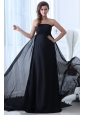 Empire Black Strapless Chapel Train Ruching Prom Dress