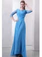 Empire Scoop Appliques with Beading 3/4 Sleeves Teal Prom Dress