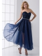 Empire Sweetheart Beading Ankle length Chiffon Navy Blue Prom Dress