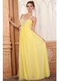 Halter Top Neck Empire Chiffon Yellow Prom Dress with Beading