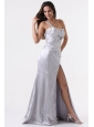 High Slit Silver One Shoulder Prom Dress with Ruching and Beading