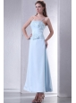 Light Blue Empire Spaghetti Straps Prom Dress with Embroidery