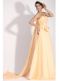 Light Yellow One Shoulder Appliques Chiffon Prom Dress