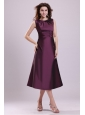Purple A-line Scoop Tea-length Prom Dress with Beading