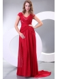 V-neck Empire Watteau Train Wine Red Prom Dress with Short Sleeves
