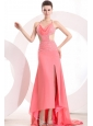 Watermelon Halter Top Neck High-low Beading Chiffon Prom Dress