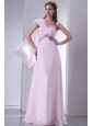 Baby Pink One Shoulder Beaded Decorate Chiffon Empire Prom Dress