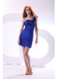 Column One Shoulder Taffeta Hand Made Flowers Mini-length Blue Prom Dress
