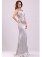 Column Straps Beading Satin Floor-length Gray Prom Dress