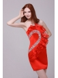 Column Wine Red Strapless Beading and Ruching Prom Dress