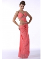 Watermelon Red Halter Top Sexy Prom Dress with Beading