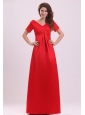 Empire V-neck Short Sleeves Appliques Satin Prom Dress in Red