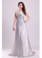 Sexy Column One Shoulder Criss Cross Brush Train Grey Beading Prom Dress