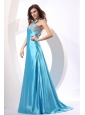 A-line Aqua Blue Halter Top Neck Beading Prom Dress with Sweet Train