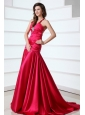 A-line Red Halter Top Neck Beading Prom Dress with Court Train